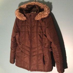 Jackets & Blazers - brown puffer jacket,  faux fur trimmed hood